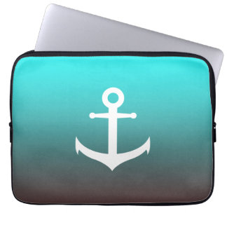Gradient aqua red | white anchor laptop sleeve