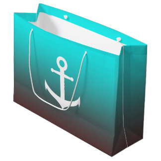 Gradient aqua red | white anchor large gift bag