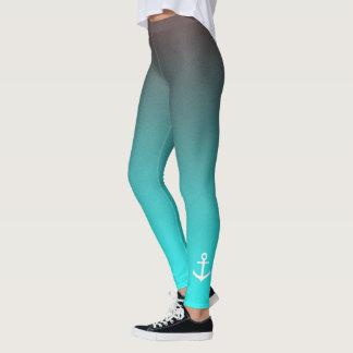 Gradient aqua red | white anchor leggings