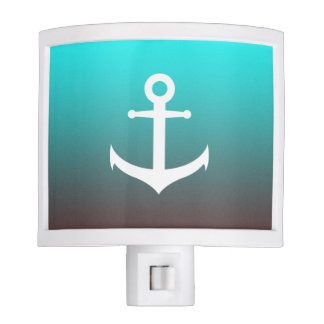 Gradient aqua red | white anchor night light