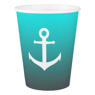 Gradient aqua red | white anchor paper cup