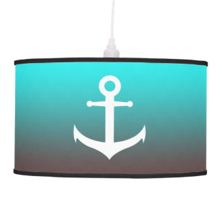 Gradient aqua red | white anchor pendant lamp