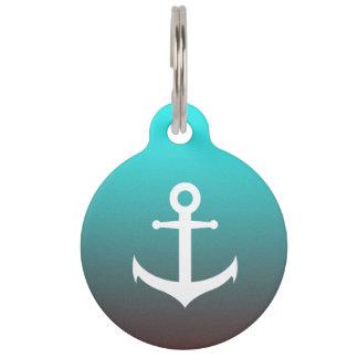 Gradient aqua red | white anchor pet ID tag