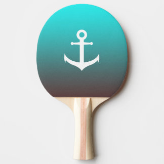 Gradient aqua red | white anchor ping pong paddle