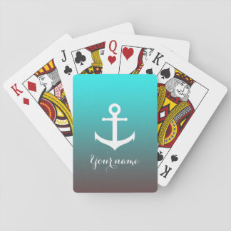 Gradient aqua red | white anchor playing cards