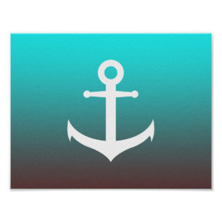 Gradient aqua red | white anchor poster