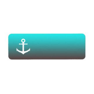 Gradient aqua red   white anchor return address label