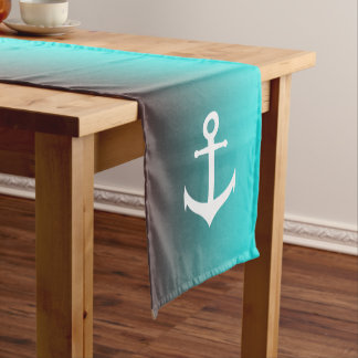 Gradient aqua red | white anchor short table runner
