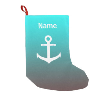 Gradient aqua red | white anchor small christmas stocking