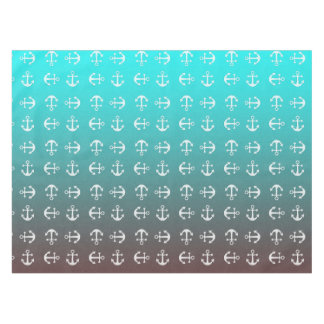 Gradient aqua red | white anchor tablecloth