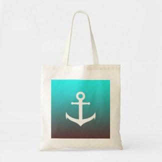 Gradient aqua red   white anchor tote bag