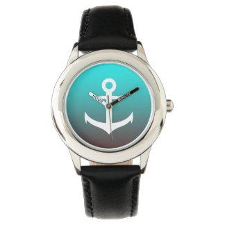 Gradient aqua red | white anchor wristwatch