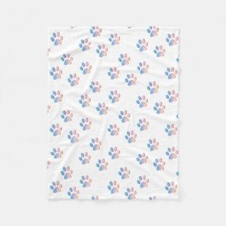 Gradient Blue Pink and Yellow Paw Prints Fleece Blanket