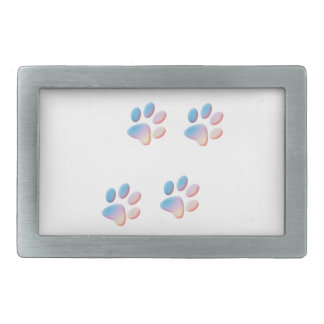 Gradient Blue Pink and Yellow Paw Prints Rectangular Belt Buckles