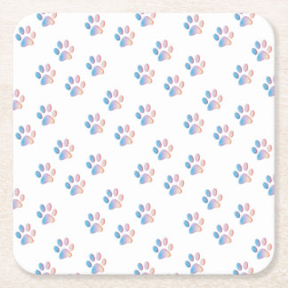 Gradient Blue Pink and Yellow Paw Prints Square Paper Coaster