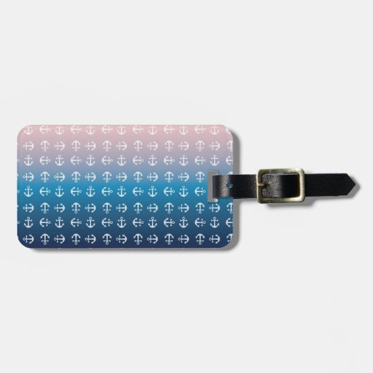 Gradient blue pink | nautical anchor pattern bag tag