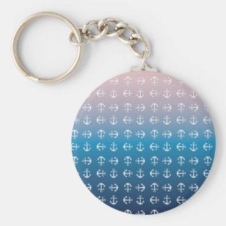 Gradient blue pink | nautical anchor pattern basic round button keychain