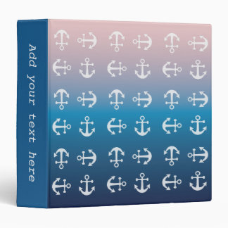 Gradient blue pink | nautical anchor pattern binder