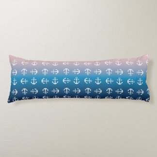 Gradient blue pink | nautical anchor pattern body pillow
