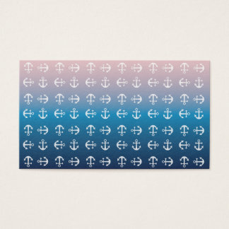 Gradient blue pink | nautical anchor pattern business card