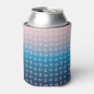 Gradient blue pink | nautical anchor pattern can cooler