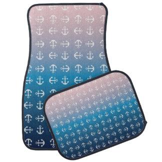 Gradient blue pink | nautical anchor pattern car mat