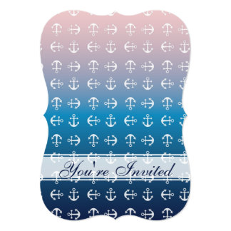 Gradient blue pink | nautical anchor pattern card