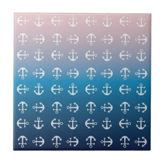 Gradient blue pink | nautical anchor pattern ceramic tile