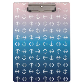 Gradient blue pink | nautical anchor pattern clipboard