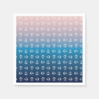 Gradient blue pink | nautical anchor pattern disposable napkins