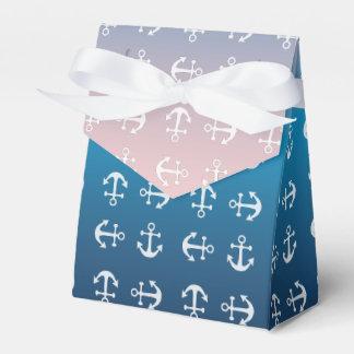 Gradient blue pink | nautical anchor pattern favor box