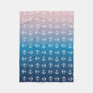 Gradient blue pink | nautical anchor pattern fleece blanket