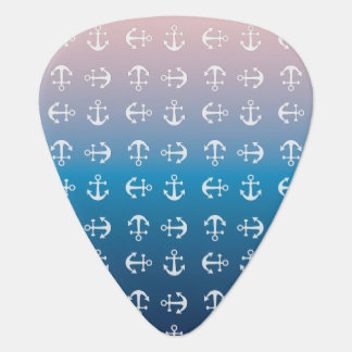 Gradient blue pink | nautical anchor pattern guitar pick