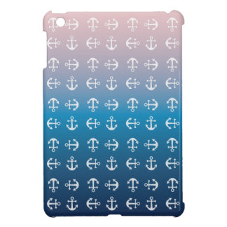 Gradient blue pink | nautical anchor pattern iPad mini case