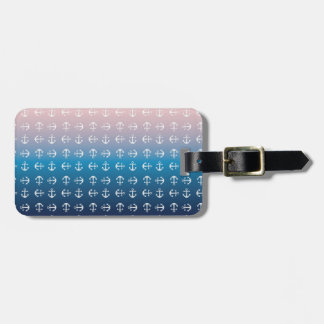 Gradient blue pink | nautical anchor pattern luggage tag