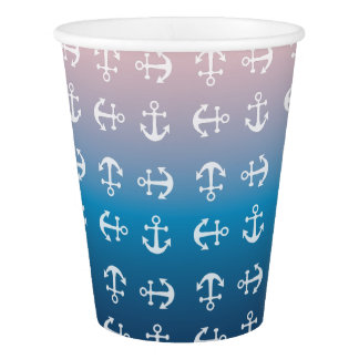 Gradient blue pink | nautical anchor pattern paper cup