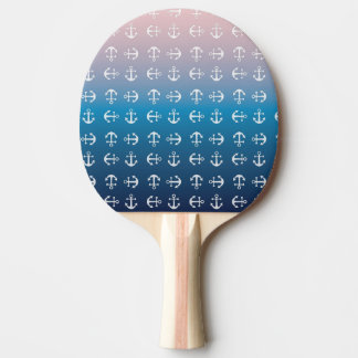 Gradient blue pink   nautical anchor pattern ping pong paddle