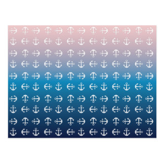 Gradient blue pink | nautical anchor pattern postcard