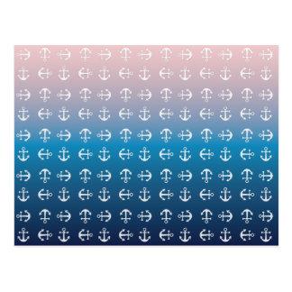 Gradient blue pink | nautical anchor pattern postcard
