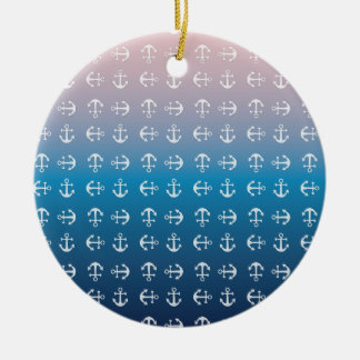 Gradient blue pink | nautical anchor pattern round ceramic ornament
