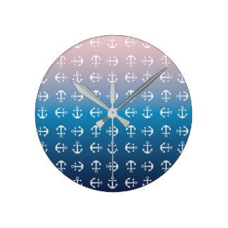 Gradient blue pink   nautical anchor pattern round clock