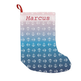 Gradient blue pink | nautical anchor pattern small christmas stocking