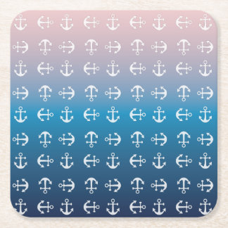 Gradient blue pink | nautical anchor pattern square paper coaster