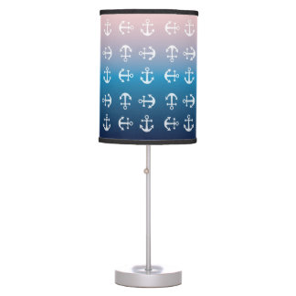 Gradient blue pink | nautical anchor pattern table lamp