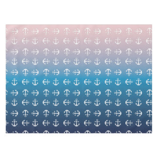 Gradient blue pink | nautical anchor pattern tablecloth