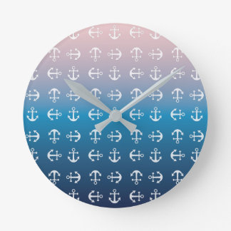 Gradient blue pink | nautical anchor pattern wallclock