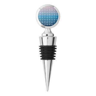 Gradient blue pink | nautical anchor pattern wine stopper