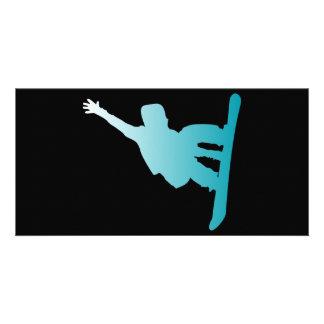 gradient blue snowboarder card