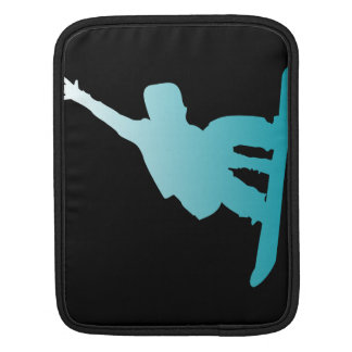 gradient blue snowboarder iPad sleeve