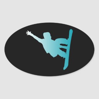 gradient blue snowboarder oval sticker